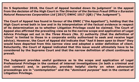 Legal Alert UK Court Of Appeals Upholds Litigation Privilege For - Us legal documents